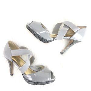 Shoedazzle Cameron gray heels size 9 peep toe
